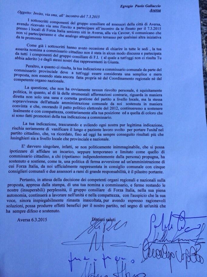 Aversa - Forza Italia, lettera a Galluccio dei lealisti