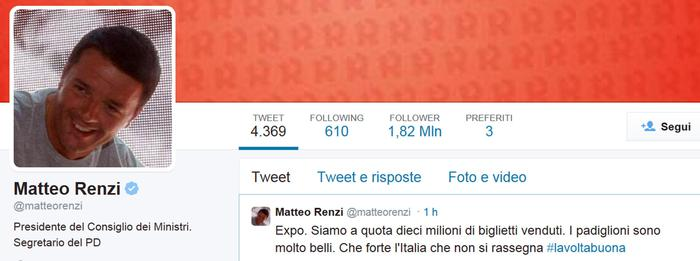 Expo, il tweet di Renzi