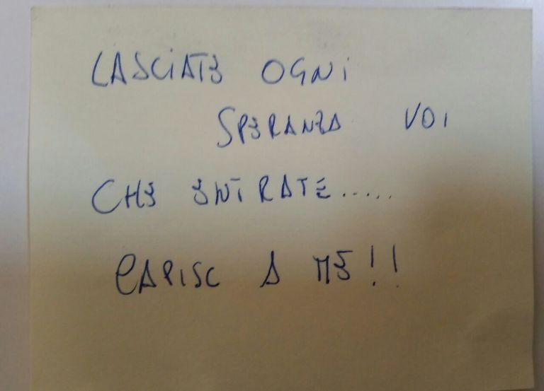 Giuseppe Somma, biglietto minacce