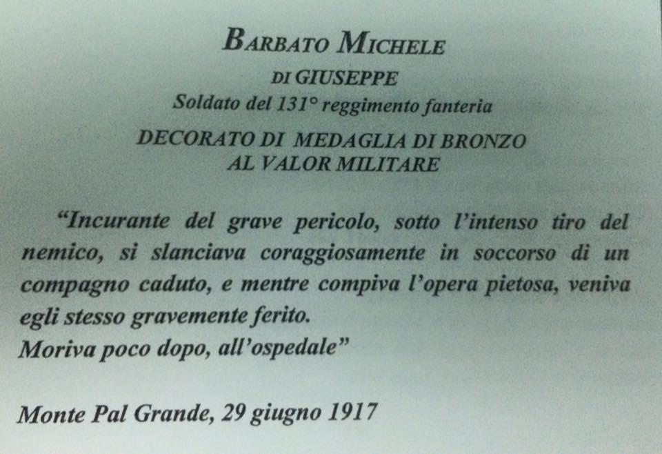 Citazione opuscolo Sold.Michele Barbato Carinaro