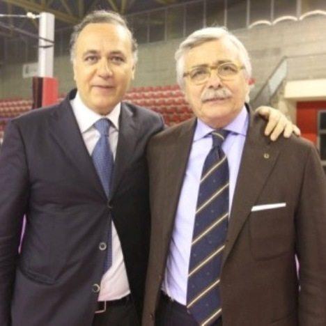 Da sinistra, il presidente della Mobilya Aversa, Sergio Di Meo, ed il vice presidente Paolo Santulli