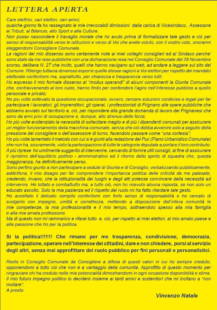 Frignano - Lettera aperta di Vincenzo Natale