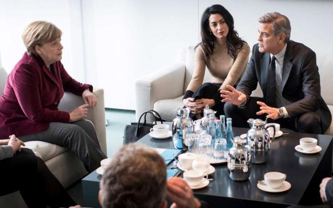 geroge Clooney e Angela Merkel