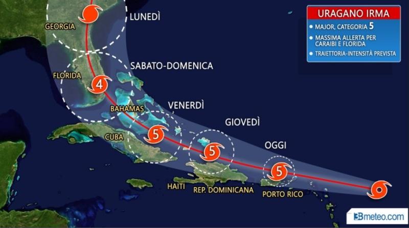 Irma si dirige verso la Florida, Trump vara stato di emergenza