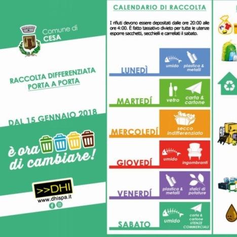 Calendario Raccolta Differenziata Napoli.Cesa Dal 15 Gennaio Nuovo Calendario Di Raccolta