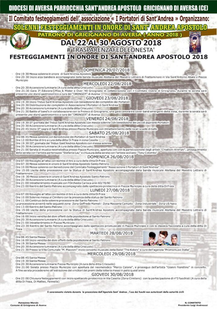festa sant'andrea 2018 programma