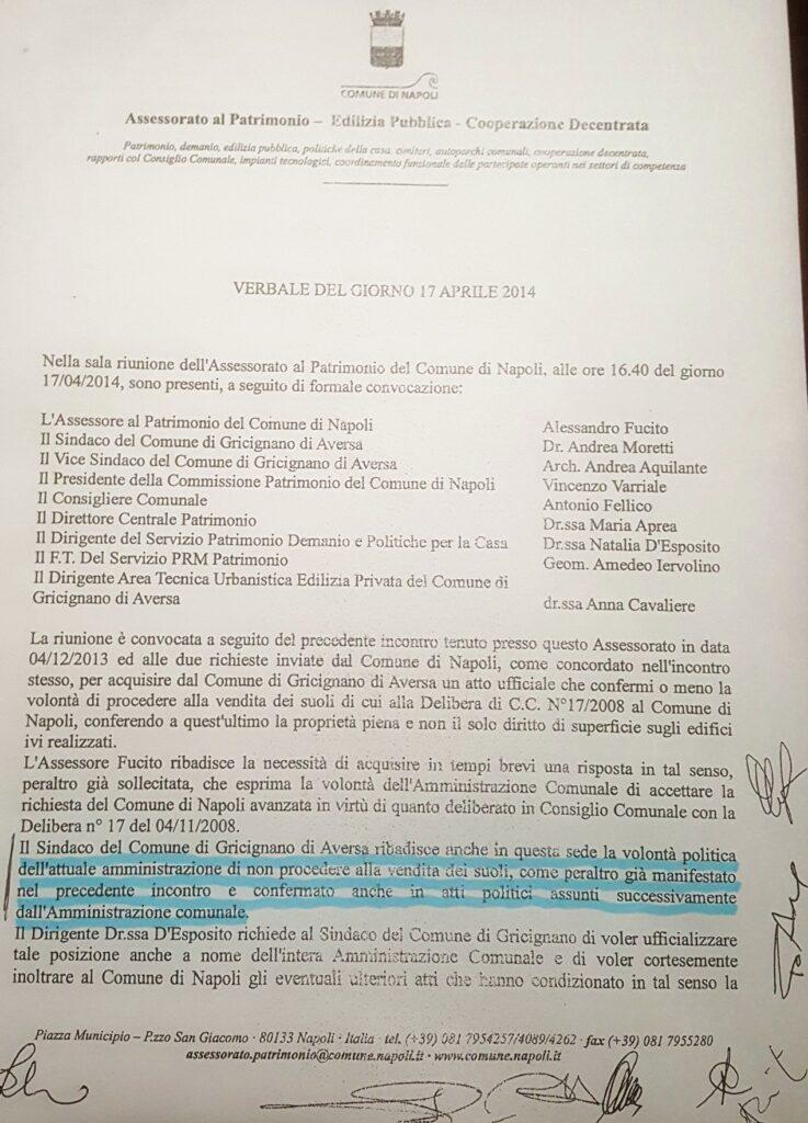 verbale al comune di Napoli 17042014