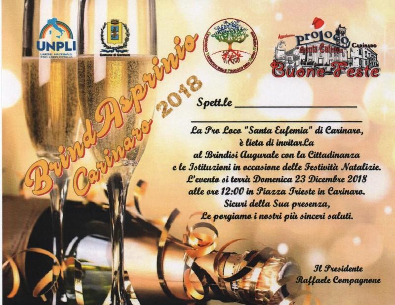Invito brindisi Pro Loco 23.12.2018