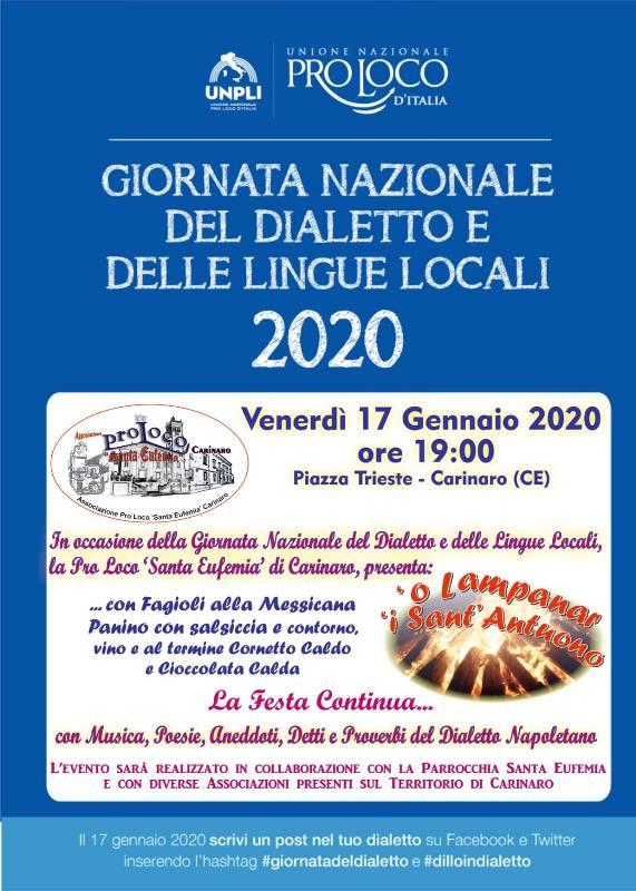 Locandina Giornata nazionale del dialetto e delle lingue locali Pro Loco Carinaro 2020