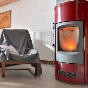 red stove pellet in a living room