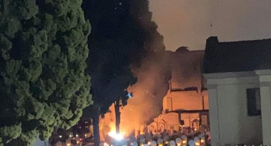 lusciano incendio cimitero