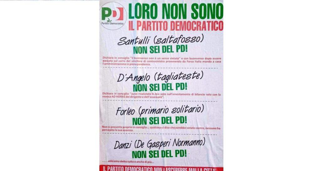 pd manifesto contro dissidenti