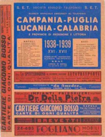 Prima Copertina Elenchi Campania 1938