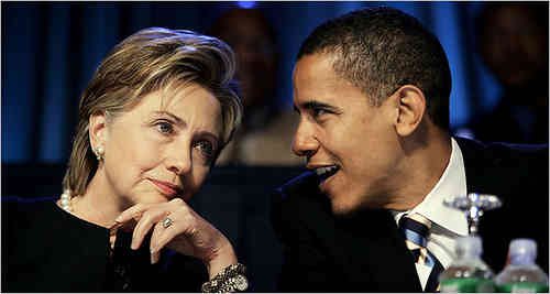 Hilary Clinton e Barack Obama