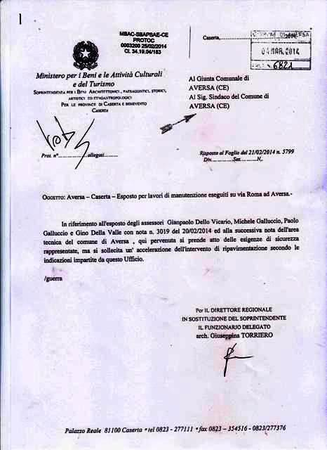 Lettera Soprintendenza 4 Marzo 2014