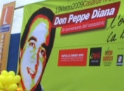 lo striscione per Don Peppe Diana