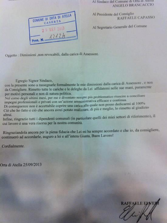 Elveri Dimissioni Lettera